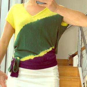 BCBGMaxazria sz sm tie dye open back wrap top